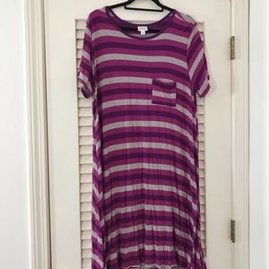 Perky, pink and purple striped Carly, XL!